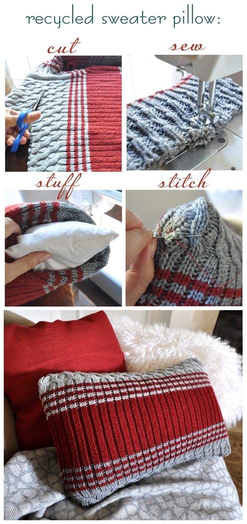 Készítsünk régi pulóverből párnahuzatot | Kreatív Ötletek